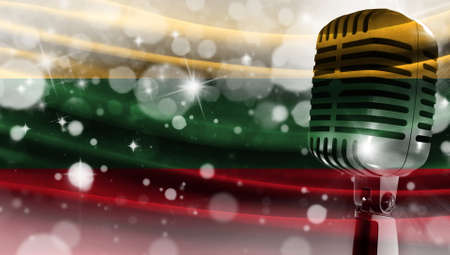 Microphone on a background of a blurry flag Lithuania close-up, a design concept for your layout with a good place for text and images.