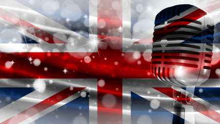 Microphone on a background of a blurry flag United Kingdom close-up, a design concept for your layout with a good place for text and images.