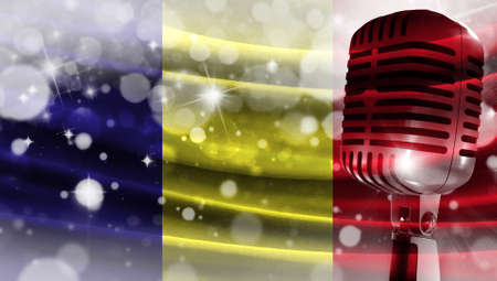 Microphone on a background of a blurry flag Romania close-up, a design concept for your layout with a good place for text and images.
