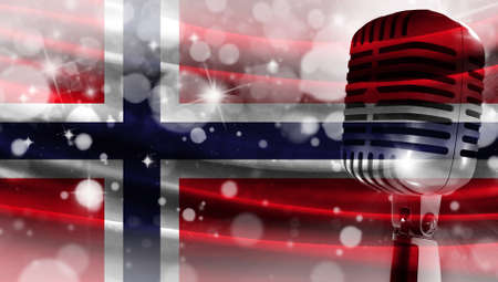 Microphone on a background of a blurry flag Norway close-up, a design concept for your layout with a good place for text and images.