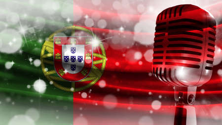 Microphone on a background of a blurry flag Portugal close-up, a design concept for your layout with a good place for text and images.