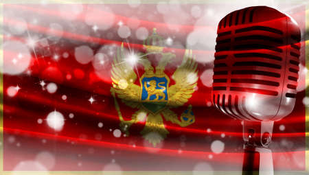 Microphone on a background of a blurry flag Montenegro close-up, a design concept for your layout with a good place for text and images.