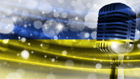 Microphone on a background of a blurry flag Ukraine close-up, a design concept for your layout with a good place for text and images.