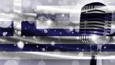 Microphone on a background of a blurry flag Greece close-up, a design concept for your layout with a good place for text and images.