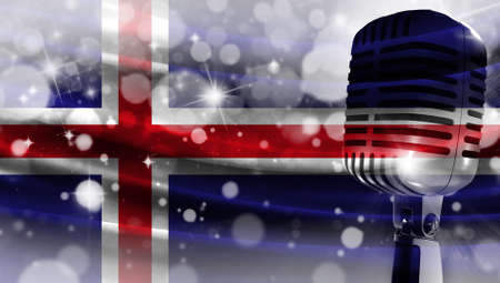 Microphone on a background of a blurry flag Iceland close-up, a design concept for your layout with a good place for text and images.