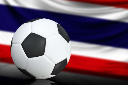 Soccer black and white ball close up, in the background a blurred flag of Costa Rica. The image takes place for your text.
