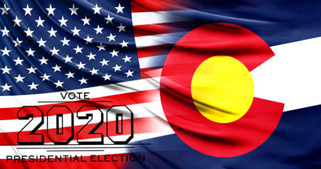 US elections in November 2020, close up of the American flag and State of Colorado flag.