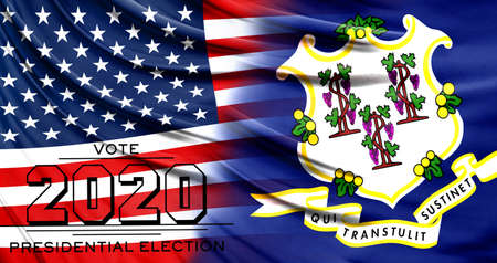 US elections in November 2020, close up of the American flag and State of Connecticut flag.