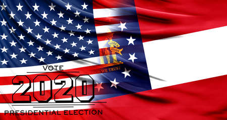 US elections in November 2020, close up of the American flag and State of Georgia flag.