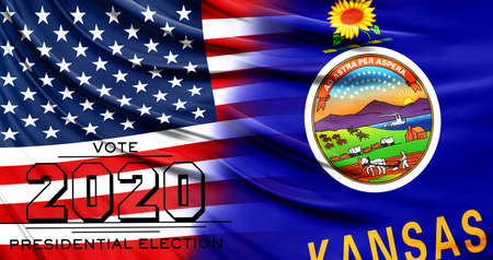 US elections in November 2020, close up of the American flag and State of Kansas flag.
