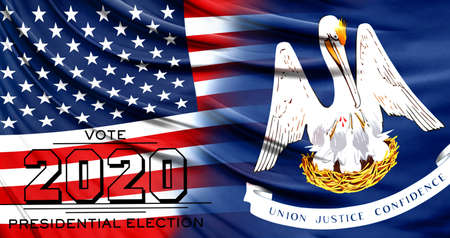 US elections in November 2020, close up of the American flag and State of Louisiana flag.