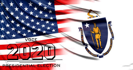 US elections in November 2020, close up of the American flag and State of Massachusetts flag.