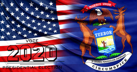US elections in November 2020, close up of the American flag and State of Michigan flag.