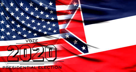 US elections in November 2020, close up of the American flag and State of Mississippi flag.