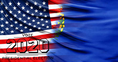 US elections in November 2020, close up of the American flag and State of Nevada flag.