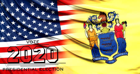 US elections in November 2020, close up of the American flag and State of New Jersey flag.