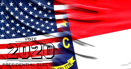 US elections in November 2020, close up of the American flag and State of North Carolina flag. 写真素材