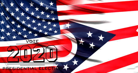 US elections in November 2020, close up of the American flag and State of Ohio flag.