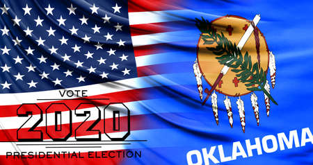US elections in November 2020, close up of the American flag and State of Oklahoma flag. 写真素材