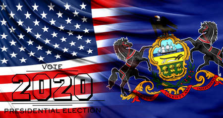 US elections in November 2020, close up of the American flag and State of Pennsylvania flag.