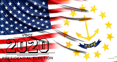 US elections in November 2020, close up of the American flag and State of Rhode Island and Providence Plantations flag.
