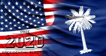 US elections in November 2020, close up of the American flag and State of South Carolina flag.
