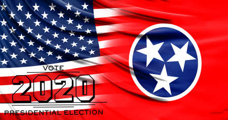 US elections in November 2020, close up of the American flag and State of Tennessee flag.