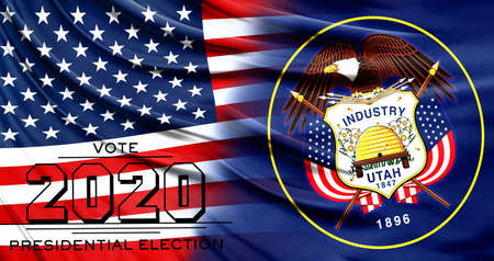 US elections in November 2020, close up of the American flag and State of Utah flag.