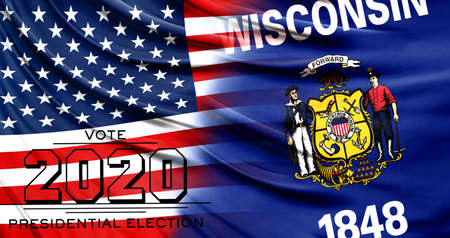 US elections in November 2020, close up of the American flag and State of Wisconsin flag.