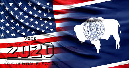 US elections in November 2020, close up of the American flag and State of Wyoming flag.