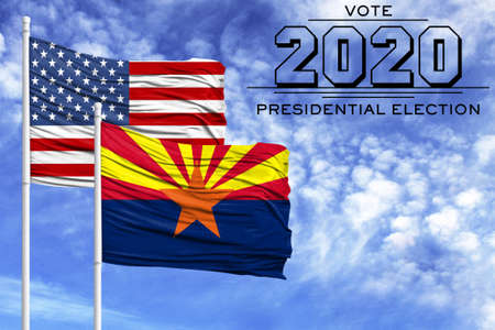 US elections in November 2020, against a blue sky, two flagpoles with the flag of America and the State of Arizona.