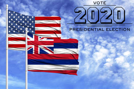 US elections in November 2020, against a blue sky, two flagpoles with the flag of America and the State of Hawaii. 写真素材