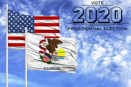 US elections in November 2020, against a blue sky, two flagpoles with the flag of America and the State of Illinois.