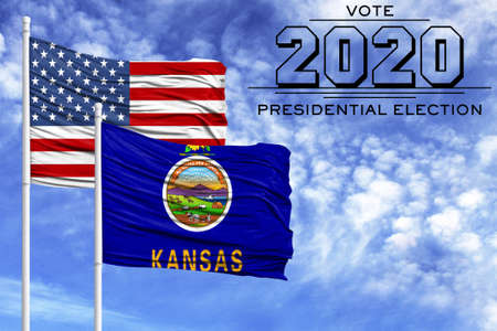 US elections in November 2020, against a blue sky, two flagpoles with the flag of America and the State of Kansas.