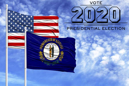 US elections in November 2020, against a blue sky, two flagpoles with the flag of America and the State of Kentucky.
