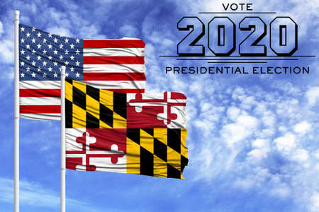 US elections in November 2020, against a blue sky, two flagpoles with the flag of America and the State of Maryland.