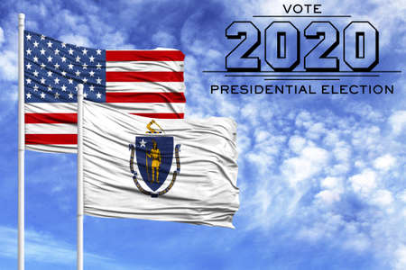 US elections in November 2020, against a blue sky, two flagpoles with the flag of America and the State of Massachusetts.
