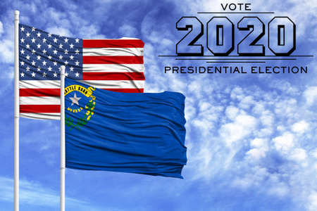 US elections in November 2020, against a blue sky, two flagpoles with the flag of America and the State of Nevada.