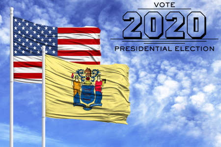 US elections in November 2020, against a blue sky, two flagpoles with the flag of America and the State of New Jersey.