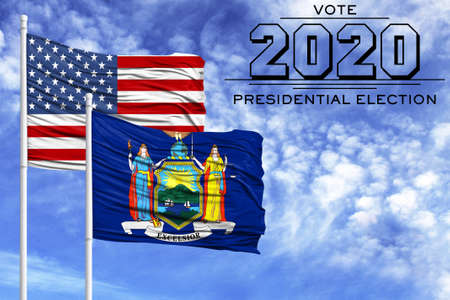 US elections in November 2020, against a blue sky, two flagpoles with the flag of America and the State of New York.
