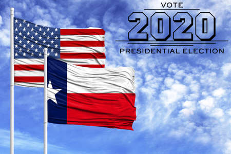 US elections in November 2020, against a blue sky, two flagpoles with the flag of America and the State of Texas.