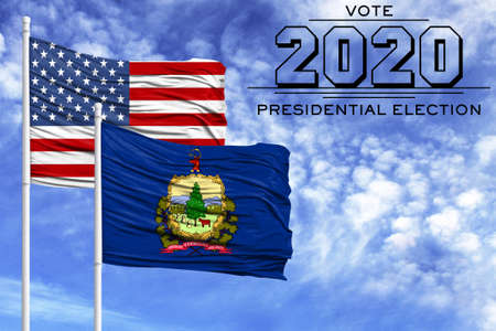 US elections in November 2020, against a blue sky, two flagpoles with the flag of America and the State of Vermont.