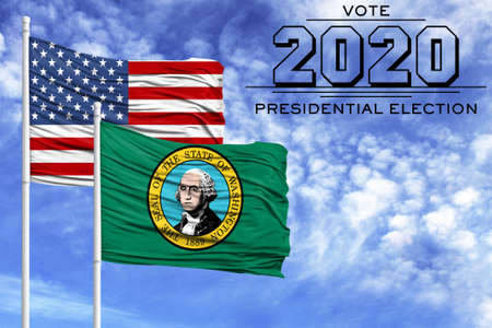 US elections in November 2020, against a blue sky, two flagpoles with the flag of America and the State of Washington.