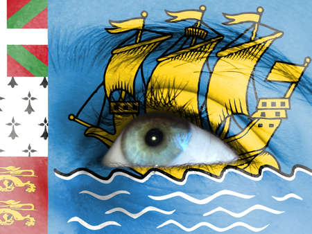 Close up view of a young girl. The flag of Saint Pierre and Miquelon is painted on the girl face.