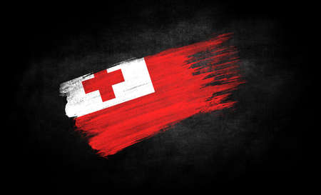 smear of paint in the form of the flag of Tonga close-up on a black background Banco de Imagens