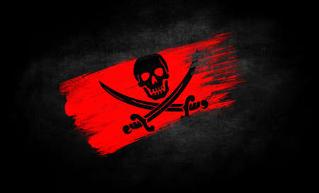 smear of paint in the form of the flag of Pirates red close-up on a black background