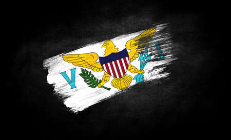 smear of paint in the form of the flag of Virgin Islands of the United States close-up on a black background