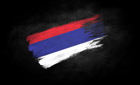 smear of paint in the form of the flag of Republika Srpska close-up on a black background Banco de Imagens