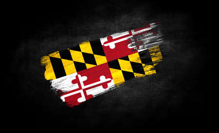 smear of paint in the form of the flag State of Maryland close-up on a black background