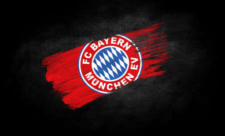 smear of paint in the form of the flag of FC Bayern Munich close-up on a black background Standard-Bild